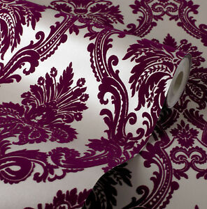 Image Is Loading Exclusive Casablanca Velvet Flock Purple Cream Damask Wallpaper
