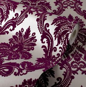 Exclusive casablanca velvet flock purple cream damask wallpaper 11003 ebay - Cream flock wallpaper ...