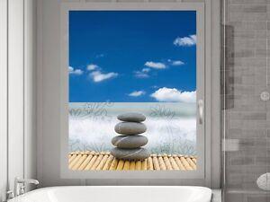 Das Bild Wird Geladen Sichtschutz Fensterfolie Sichtschutzfolie Fuer  Badezimmer Steine Blumen