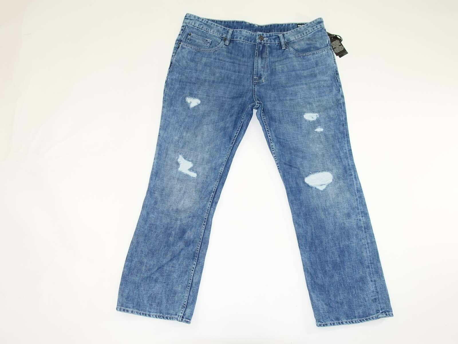 Buffalo Men's Six-X Slim Straight Leg Jeans Size 42 X 30 NWT Damaged Repair Wash
