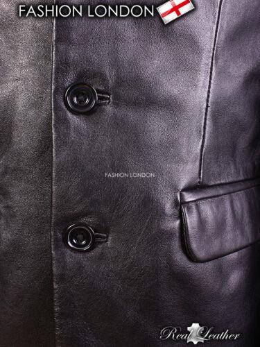 BLAZER Black Men/'s Classic Lambskin Simple Single Breasted Casual Leather Jacket