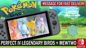 Pokemon-Let-039-s-GO-Shiny-Perfect-IV-Articuno-Moltres-Zapdos-amp-Mewtwo-Legendary