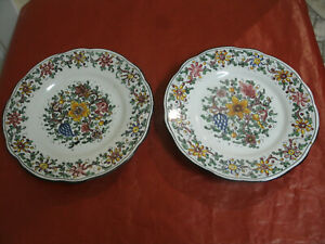 Ceramica-BIAGIOLI-GUBBIO-Coppia-Due-Piatti-Dec-Fiori-d-21-cm