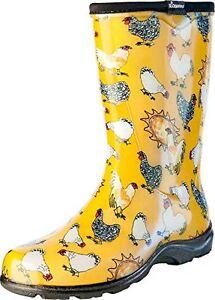 Sloggers Women's Rain&Garden Chicken Print, Size7, Daffodil Yellow