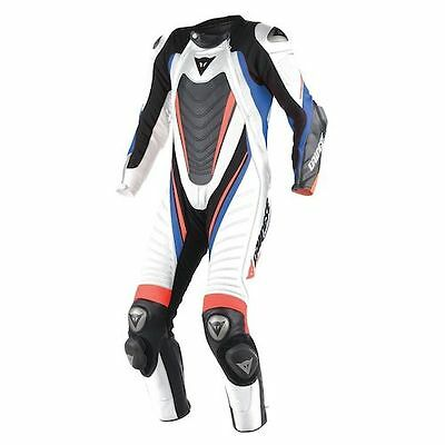 Dainese Aero Evo D1 1pc Leather Motorcycle Race Suit White/Black/Sky Blue