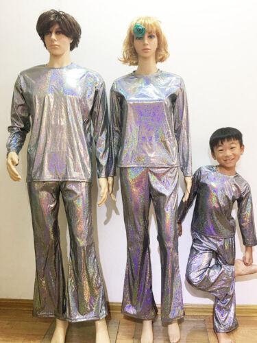 Men Women Shiny Flare Pants Trousers Bell-bottoms Costume Fancy Dress Dance Suit