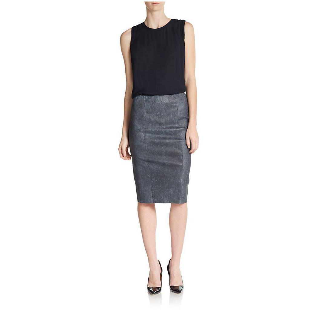 ELIE TAHARI Navy Pamela Leather bluee Pencil Knee-length Skirt  USA 8 IT 44