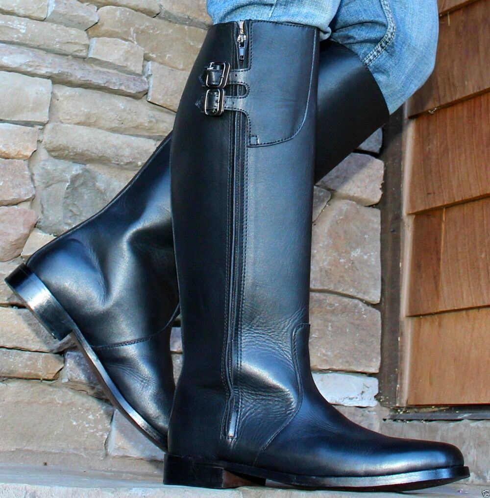 Mux Leather Handmade Elegant Tall Motorbike Stiefel with Leather sole UK 5-12