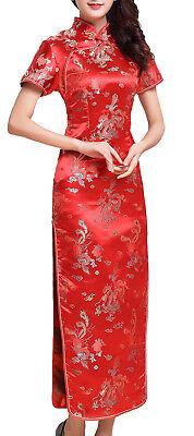 UK Stock Red Dragon /& Phoenix Chinese Long Evening Party Dress Cheongsam