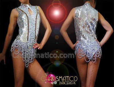 Ultra Short Silver Sequin Showgirl Dress Style Leotard with Beaded Drape Skirt