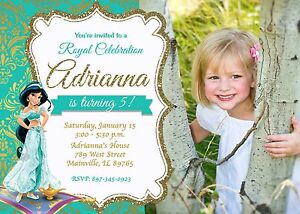 Details About Princess Jasmine Jasmine Aladdin Birthday Party Invitation