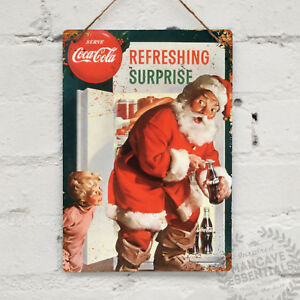 Father Christmas Coke Old Looking Metal Signs Retro Pub Bar Wall Poster Garage