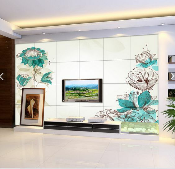 3D Blaue Tinte Lotusblatt  Fototapeten Wandbild Fototapete BildTapete Familie DE