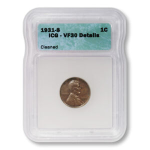 Lincoln-Wheat-Cent-1c-1931-S-ICG-VF30-Details-Cleaned-Key-Date-Penny