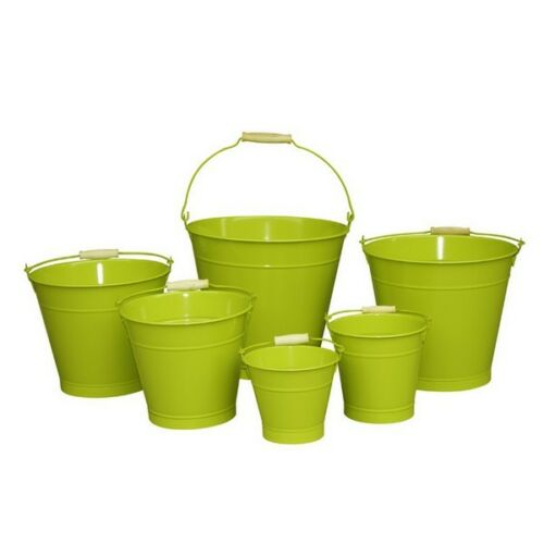 20cm vert zinc seau//métal//étain//conteneur//stockage//pot de fleur//maison//jardin