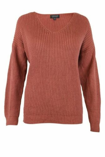 Womens Ex TopShop Dusky Pink Light Grey Cobalt Blue Ribbed V Neck Chunky Knit