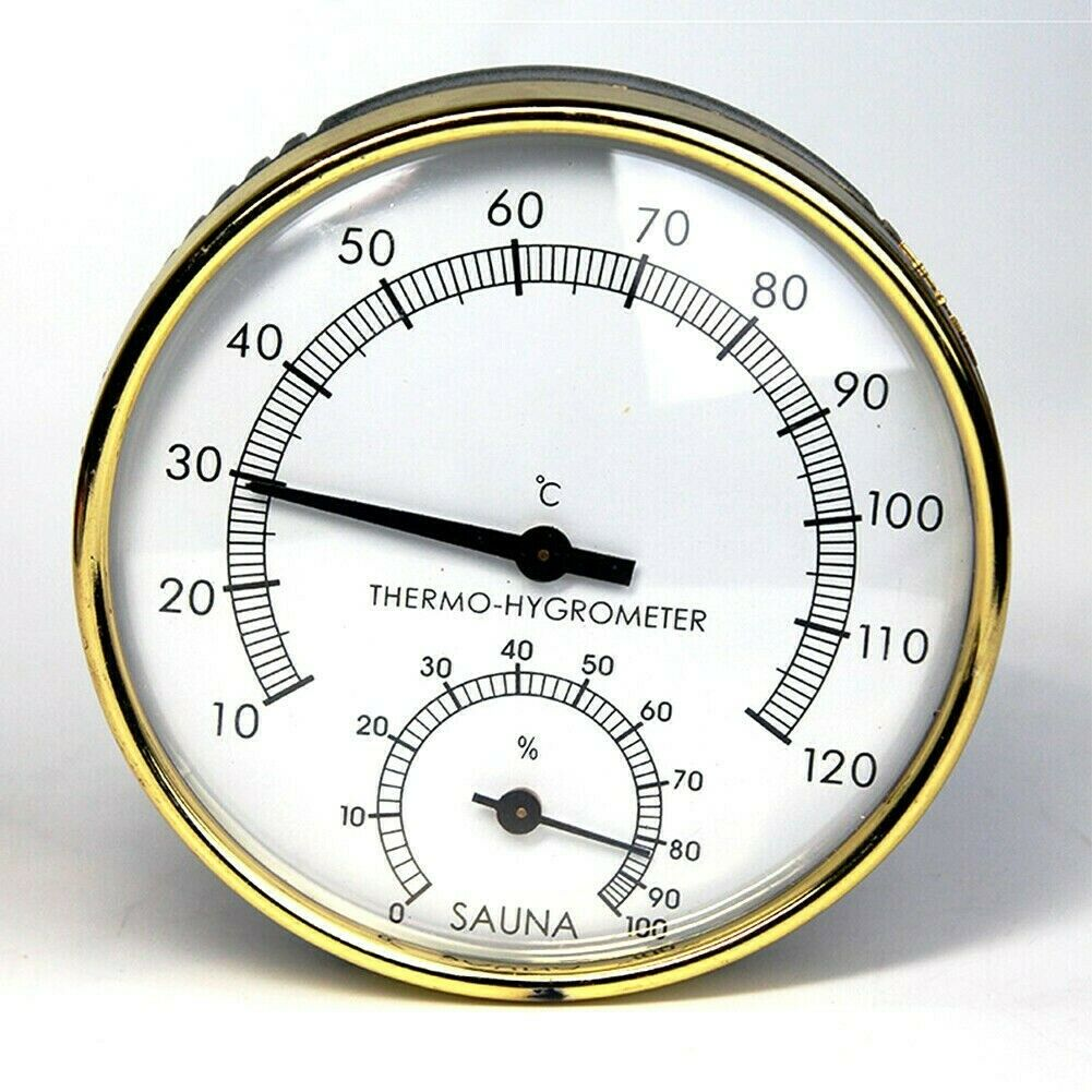 100mm Dia Sauna Thermometer & Hygrometer Hygrothermograph Glass Room Accessories