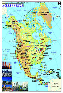 NORTH AMERICA Map Poster Wall chart - A3 size -educational school | eBay
