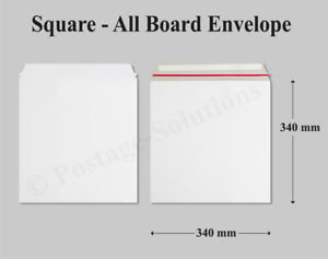 100-x-340-x-340-12-034-Record-Mailer-WHITE-Square-ENVELOPES-All-Board-Quality-Cheap
