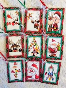 set of 9 hang tags christmas cartoon santa gift tags scrapbooking