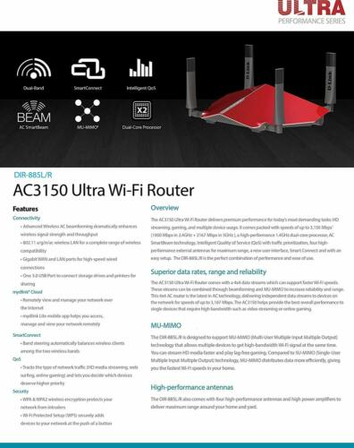 D-Link DIR-885L//R Wireless AC3150 Gaming Gigabit Cloud Ultra Performance Router