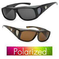 100% Uv Polarized Wear Cover Over Rx Glass Sunglasses Fit Driving Size Medium M