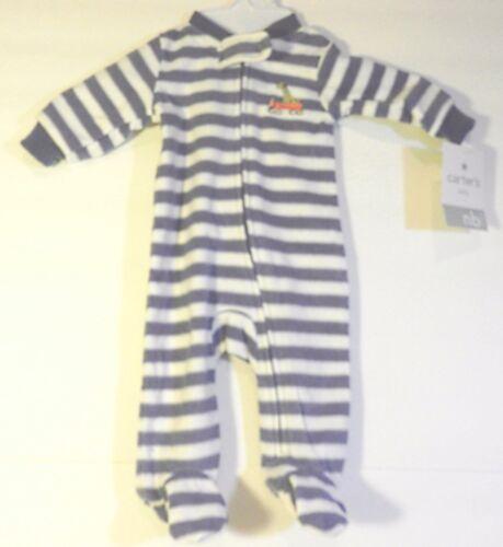 Carter/'s Baby Stripes Puppy Embroidery Fleece Footie~Sz NB 3,6 /& 9 Mos