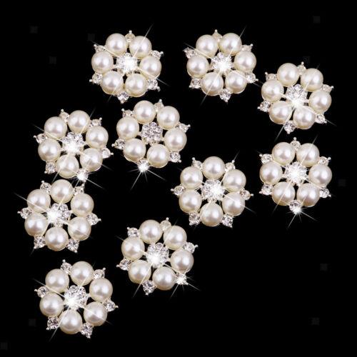40x Mixed Crystal Flower Knöpfe Perle Flatback Für Hochzeit Haarschmuck