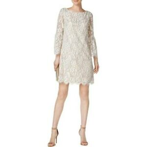 Details About Jessica Howard Floral Lace Bell Sleeve Shift Dress Size 8 Beige Ivory 2940