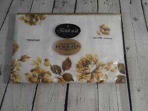 VTG Fieldcrest Twin Flat Percale Sheet Duracale Flowers Queens Garden NOS 72x108