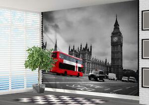 negro-y-Blanco-Londres-con-Autobus-Rojo-Papel-Pintado-Pared-Mural-Foto