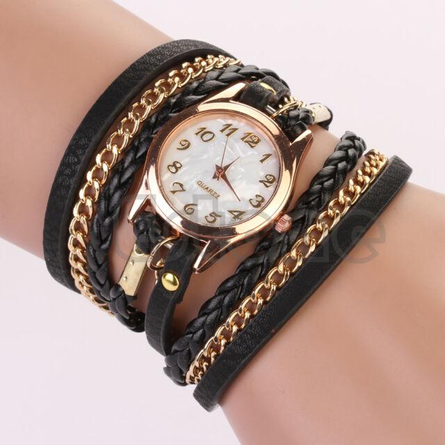 New Fashion Women Girl Faux Leather Rhinestone Sling Chain Quartz Wrist Watch