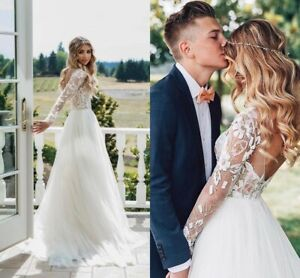 Details Cheap Simple Wedding Dresses Country Bridal Gowns A Line Long Sleeves Appliques