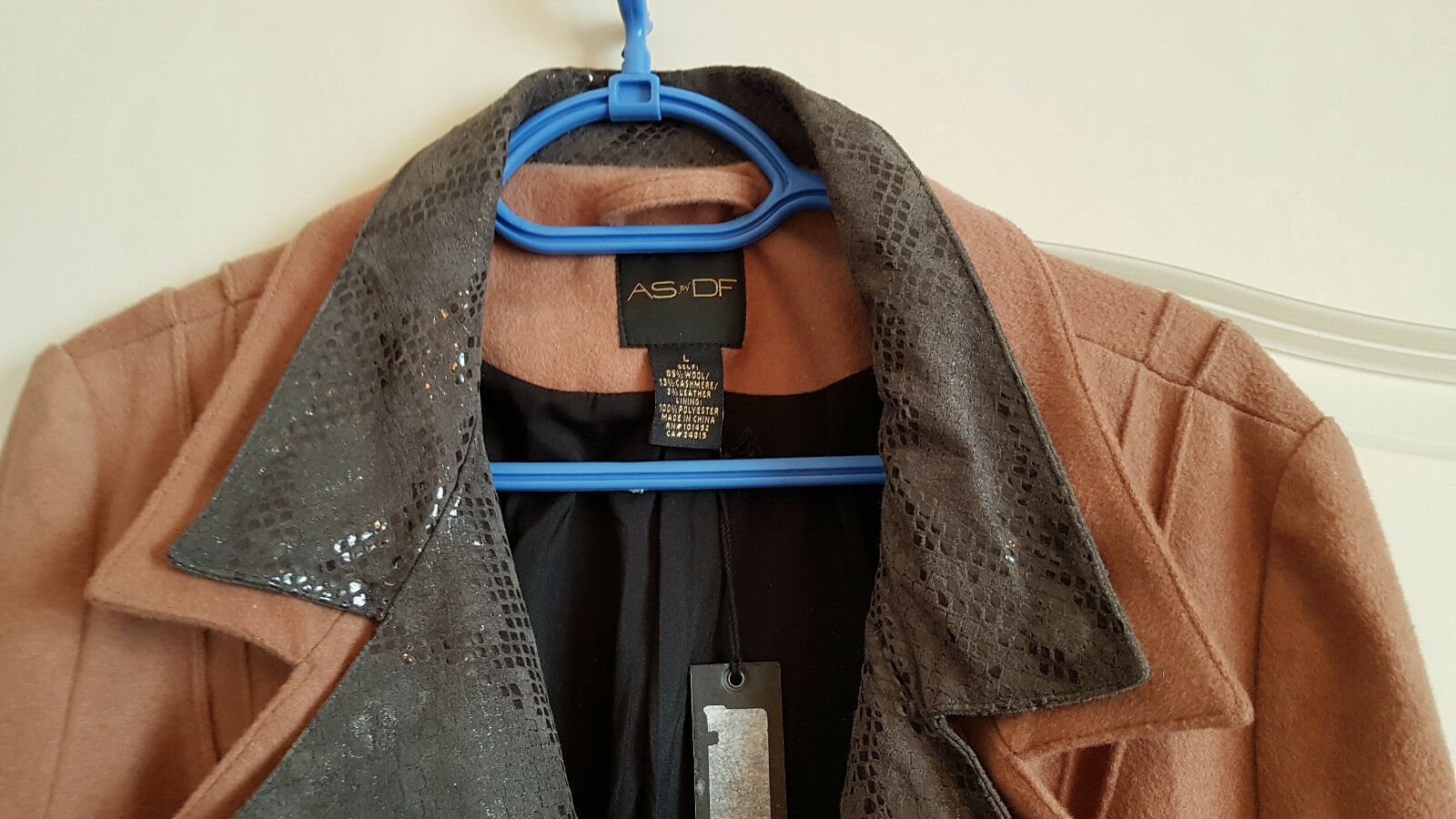 NWT As by Df Df Df wool cashmere leather women coat size L d2a9eb