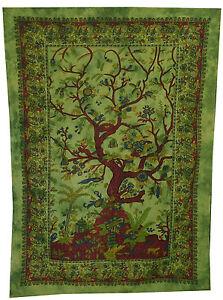 arbre-de-vie-TAPISSERIE-TENTURE-MURAL-INDIEN-COUVRE-LIT-Ethnique-Decoration-Art