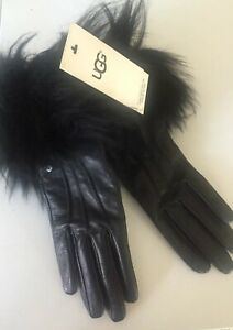 UGG-Ladies-Black-Leather-Toscana-Gloves-Touch-Fur-Trim-Cashmere-Lined-Touch-S