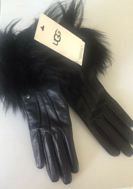 UGG Ladies Black Leather Toscana Gloves Touch Fur Trim Cashmere Lined Touch S