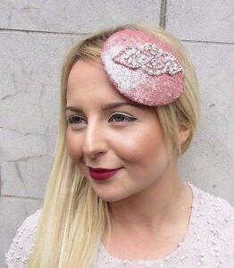 Rose Gold Silver Sequin Fascinator Hat Headpiece Hair Clip Vintage Wedding 2719