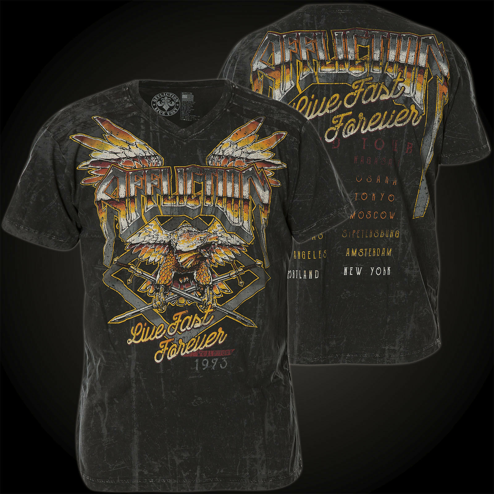 AFFLICTION T-Shirt AC Roadie black T-Shirts