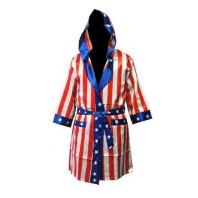 Rocky American Flag Robe USA Boxer Costume Hood Balboa Apollo Creed Movie IV