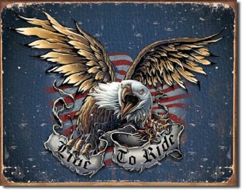 Live to Ride Eagle Metal Tin Sign Wall Art