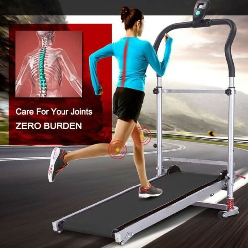 Folding Manual Treadmill Work Machine Fitness Exercise Home LED Shock-absorbing