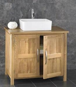 Image Is Loading 90cm Freestanding Bathroom Cabinet Solid Oak Vanity Unit