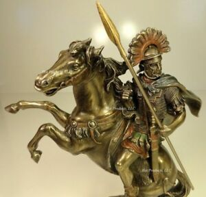 ROMAN-CENTURION-OFFICER-SOLDIER-ON-HORSE-W-SPEAR-Sculpture-Statue-Bronze-Finish