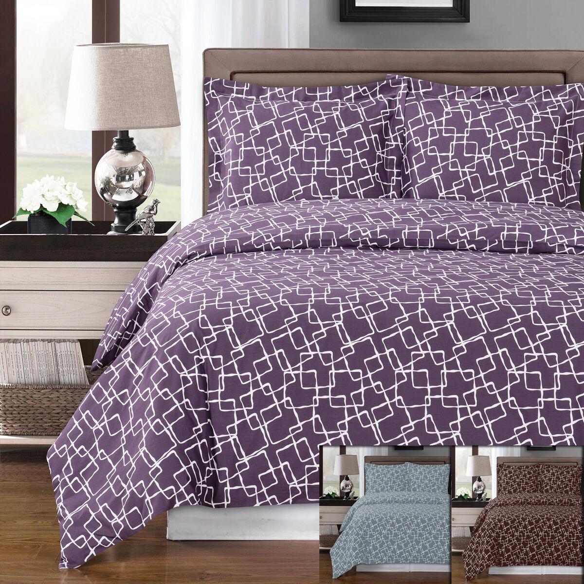 Geometric Pattern Eva 3pc Duvet Cover Set 100% Combed Cotton 300 Thread Count