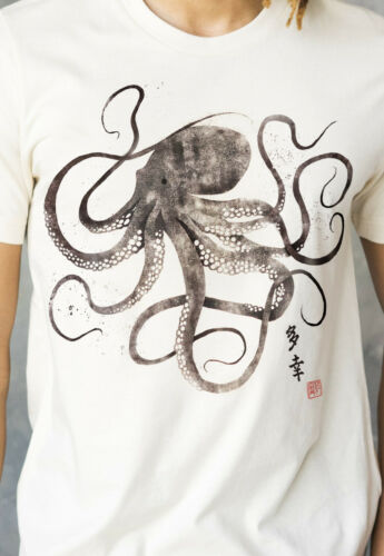 Octopus Japanese Art Calligraphy T Shirt Anime Manga Japan Tokyo Mens Womens Tee