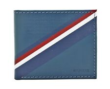 NEW TOMMY HILFIGER BLUE/GREY LEATHER DOUBLE BILLFOLD CREDIT CARD ID MEN'S WALLET