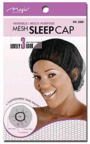 Magic SLEEPING HAIR NET CAP Heavy Duty Black multi purpose interlocking net 2268