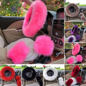 Long Plush Warm Steering Wheel Cover Woolen Handbrake Car Accessory Auto Fur~