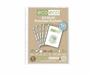 100 x eco-eco A4 100% Recycled Smooth Glass Clear Punched Plastic Pockets 5060454450108
